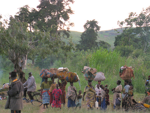Internally displaced people in DR Congo flee Songolo, 40 km south of Bunia, following fighting between the Congolese army and militiamen
