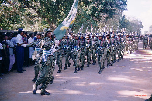 Female Tamil Tiger fights on parade in Killinochchi, Sri Lanka