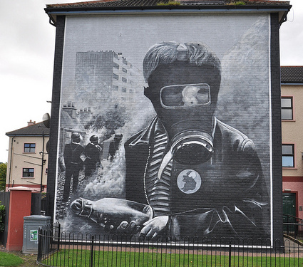 "A mural marking the ""Battle of the Bogside"", 3 days of unrest in August 1969"
