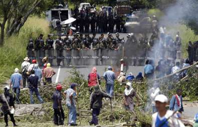 Colombian security forces clash with indigenous protesters in Colombia.