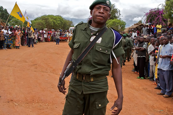 FARDC soldier at a parade.