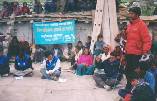 Human Rights Activist and Internally Displaced Persons during rehabilitation in the  interaction program at their origin on May 2005at Jumla District