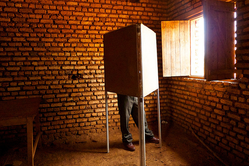 A voter in Burundi's disputed election in 2010