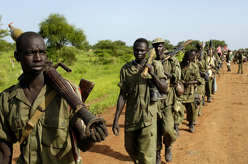 Soldiers of the Sudanese People's Liberation Army (SPLA) redeploy to form a new Joint Integrated Unit (JIU) battalion with the Sudan Armed Forces (SAF), under the terms of the agreement of the Abyei road map.