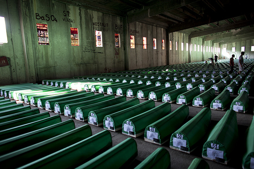Thousands of people gathered in July 2010 to rebury hundreds of newly identified victims of the Srebrenica genocide.