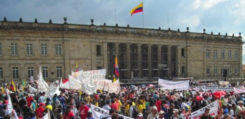 Patriotic March rally in the main Bolivar square in Bogotá