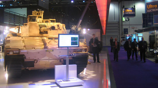A tank at the 2009 DSEi arms fair