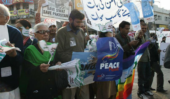 South Asia Partnership Pakistan (SAP-PK) protest for peace