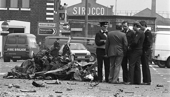 The aftermath of a PIRA car bomb in Belfast