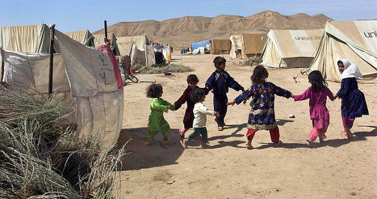 Children Play at Sosmaqala IDP Camp in Afghanistan