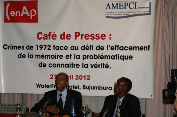 Press conference on memory and truth of the 1972 crisis organised by AMPECI in April 2012