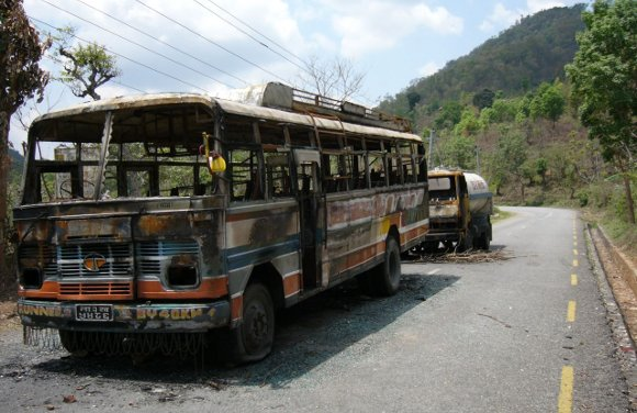 Vehicles burnt by Maoists
