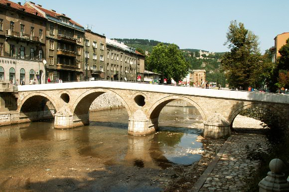 The Latin Bridge, Sarajevo. The site of the assassination of Archduke Franz Ferdinand of Austria by Gavrilo Princip in 1914. Image credit: Jaime Silva