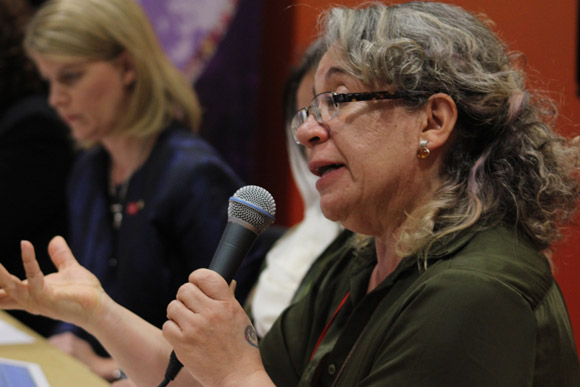 Rosa Emilia Salamanca speaking at the panel event organised by Conciliation Resources in cooperation with the UK Foreign and Commonwealth Office, the Australian Department for Foreign Affairs and Trade, and ABColombia and entitled 'Women in peace negotiations', as part of the Global Summit, June 2014. Image credit: (c) Conciliation Resources/Sarah Bradford