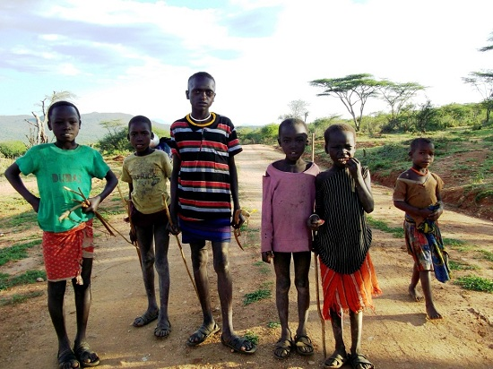 Pokot child herders. POKATUSA's work aims to prevent them becoming cattle rustlers.
