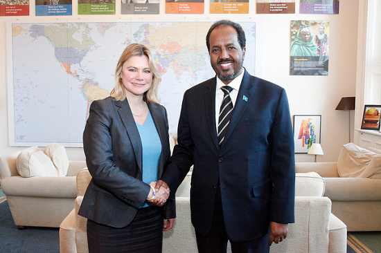 Somali President Hassan Sheikh Mohamud, with Secretary of State for International Development, Justine Greening. Image credit: DFID