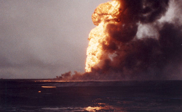An oil fire during the first Gulf war.