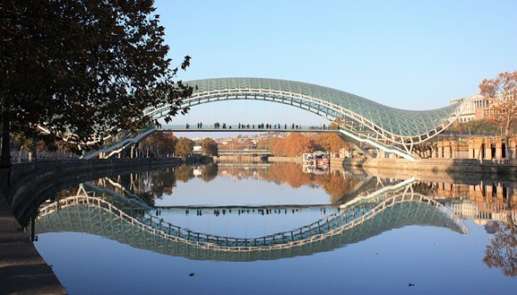 The 'Bridge of Peace' in Tbilisi, Georgia. The bridge unites the old new parts of the city. Image credit: George Mel.