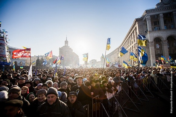 Protestors in Kiev in December 2013. The conflict in Ukraine has seen many local NGOs refocus their activities to support those affected by violence. Image credit: Sasha Maksymenko.