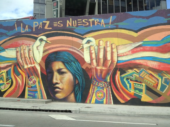 Street art in the Colombian city of Bogota declares the peace is ours. Image credit: Juan Cristobal Zulueta